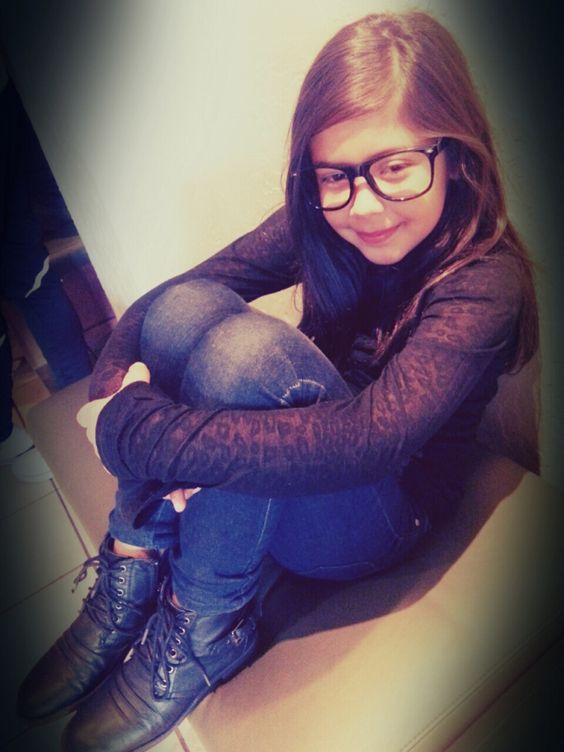 Kids fashion skinny jeans, low cut boots, glasses