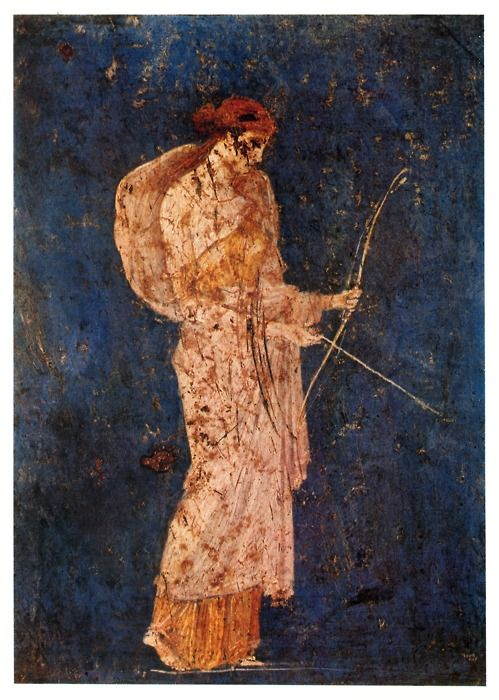 Roman fresco depicting Diana the huntress recovered from Vesuvian Ash in Stabiae 1st century BCE-1st century CE (22)