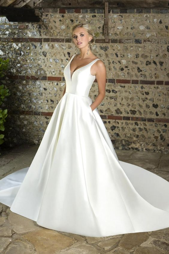 Austin W351 | Simple V-Neck Mikado Ballgown Wedding Dress | True Bride