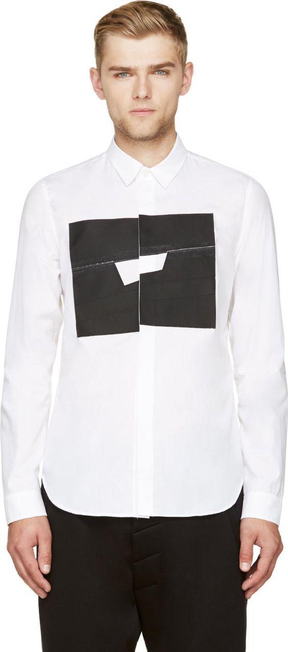 Cy Choi: White & Black Poplin Matte Square Shirt | SSENSE