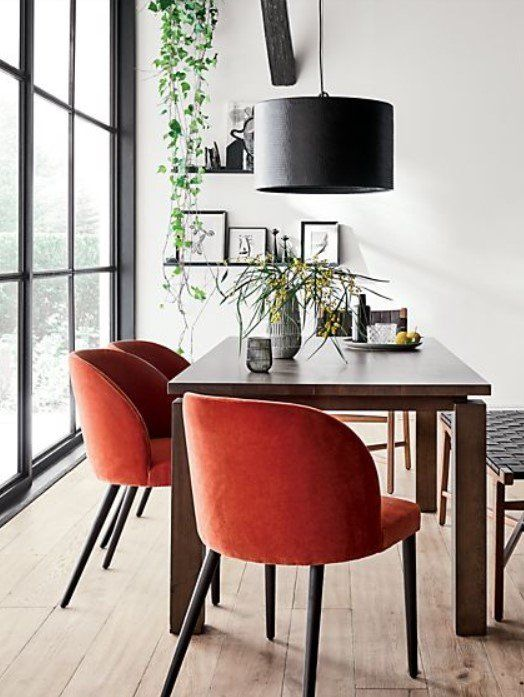 Camille Burnt Orange Velvet Dining Chair Reviews Crate And Barrel In 2020 Velvet Dining Chairs Dining Chairs Modern Rugs Grey