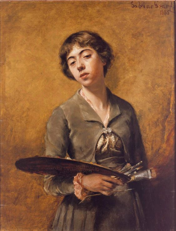 Self-portrait (1885). Sabine Lepsius (German, 1864-1942). Oil on canvas. Staatliche Museen zu Berlin, Nationalgalerie.  Lepsius showed herself as a painter at the age of 21. Here the portrait marks her coming of age, the girl become woman artist. Her father, also a painter, hung the portrait in his studio, giving her the stamp of professional recognition.: