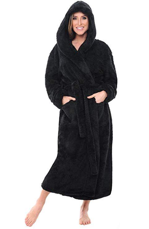 Alexander Del Rossa Womens Fleece Robe Long Plush Hooded Bathrobe