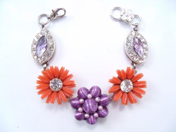 Jewelry Box Bracelet in oranges and purples by Pink Dogwoods Jewelry