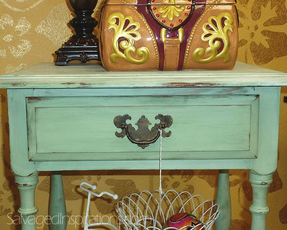 Salvaged Inspirations | Featuring Vintage Home Side Table Painted w CeCe Caldwell