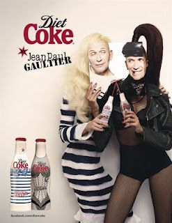 """2 limited edition bottles for Diet Coke: """"Day"""" and """"Night"""". This is his first work as creative director for Diet Coke."""