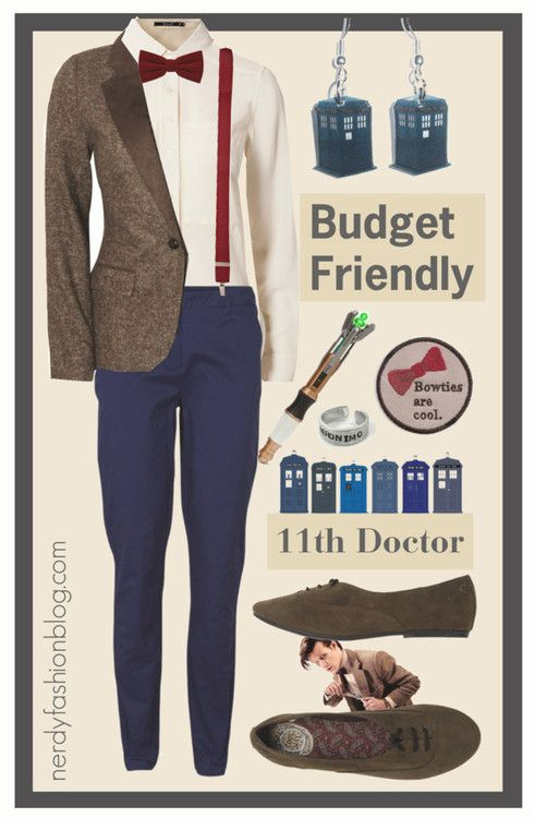 11th Doctor   Doctor Who - Budget Friendly by chelsealauren10   Blonde + Blonde tweed jacket, $61 / VILA , $26 / Flat shoes / TARDIS Earrings / River Island Dark Red Braces, $24 / Doctor Who Ring - Geronimo / Doctor Who, Bowties are Cool Patch