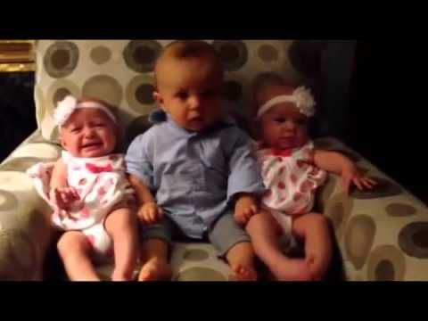 cute baby meets twins for the first time / Funny baby meets twins Video HD NEW