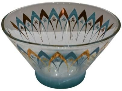 Midcentury Glass Punch Bowl