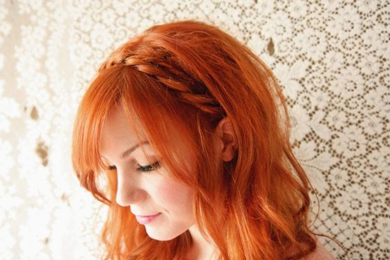 DIY maiden braids (of course, it helps to have gorgeous red wavy hair  and amazing face framing bangs to start...)