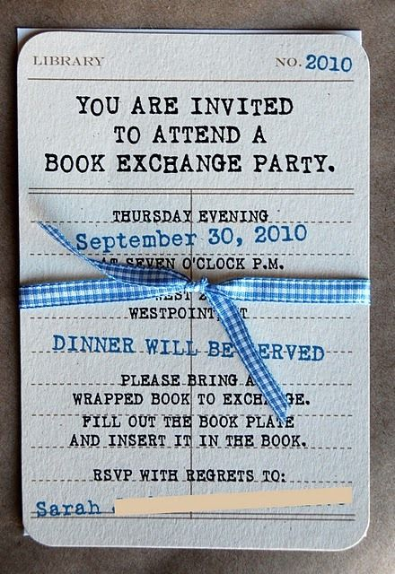 Book exchange party invite. What a fun idea. What would you serve for dinner?