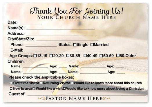 Church Visitor Card Template Word Beautiful Wel E Visitor Cards Ministry Greetings Christian Church Visitor Gifts Church Visitor Packet Card Template