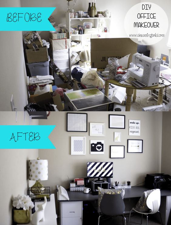 OFFICE MAKEOVER BEFORE AND AFTER, OFFICE DECOR IDEAS