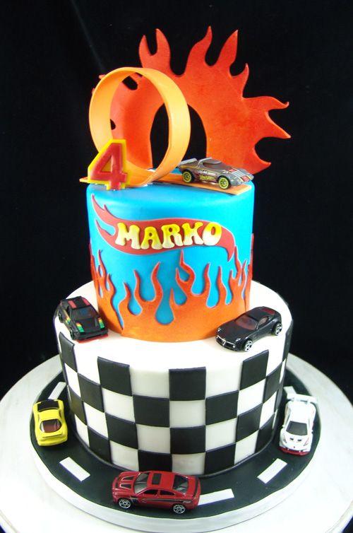 Marvelous Hotwheels Themed Birthday Cake Fondant Finish With Toy Funny Birthday Cards Online Alyptdamsfinfo