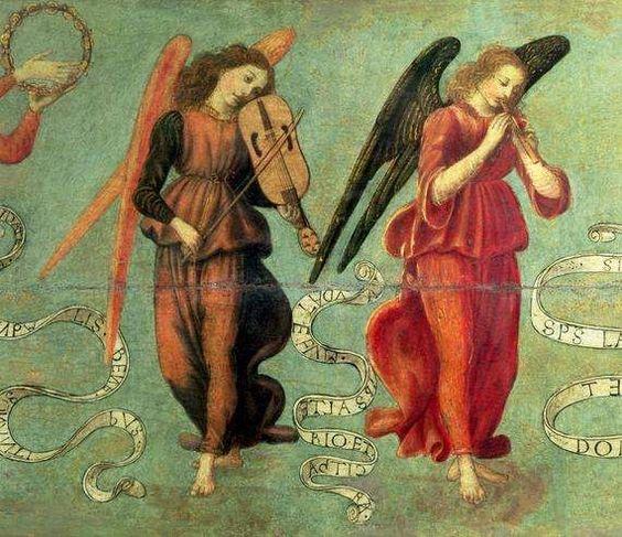 Francesco Botticini, (ca1446 - 1497, Italian) Angels Playing Musical Instruments (tempera on panel), Detail. Museo della Collegiata di Sant' Andrea, Empoli, Italy: