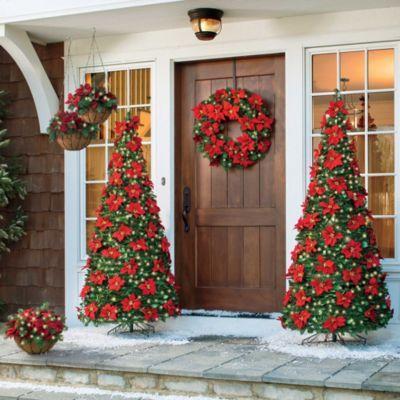 Lighted Outdoor Poinsettia Decor Christmas Cheer