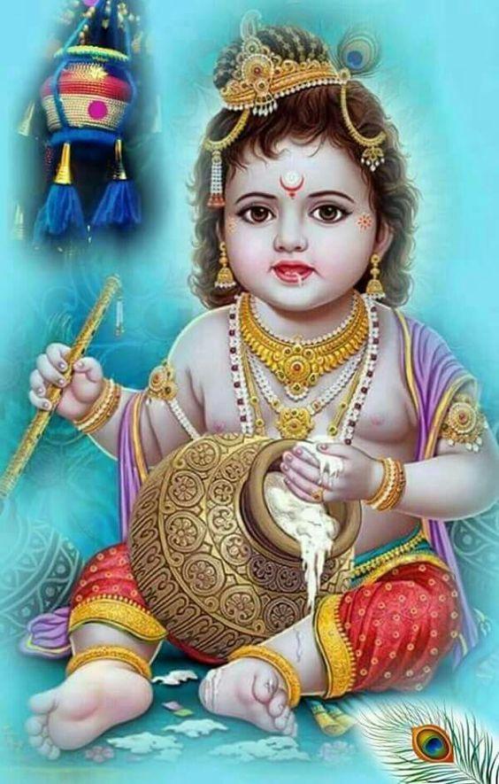 Lord Shree Krishna Baby Cute Krishna Painting Hd Wallpaper Photo In 2020 Cute Krishna Krishna Painting Baby Krishna