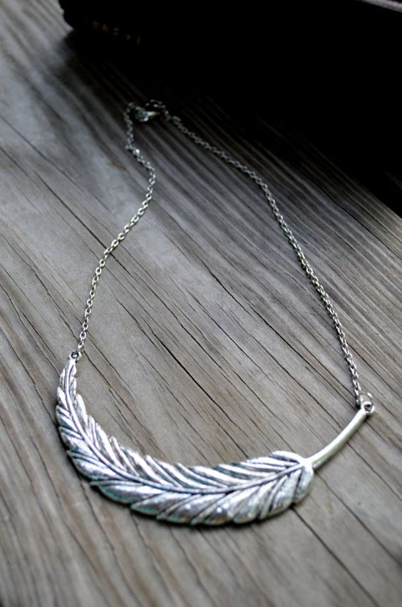 Feather Necklace - Antique Silver - Metal - Winter Fashion - Women - Teens - Boho - Gifts Under 25 - Gift on Etsy, $21.00