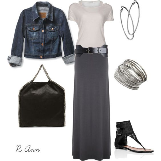 Can't have enough: long skirt + jean jacket = Happiness
