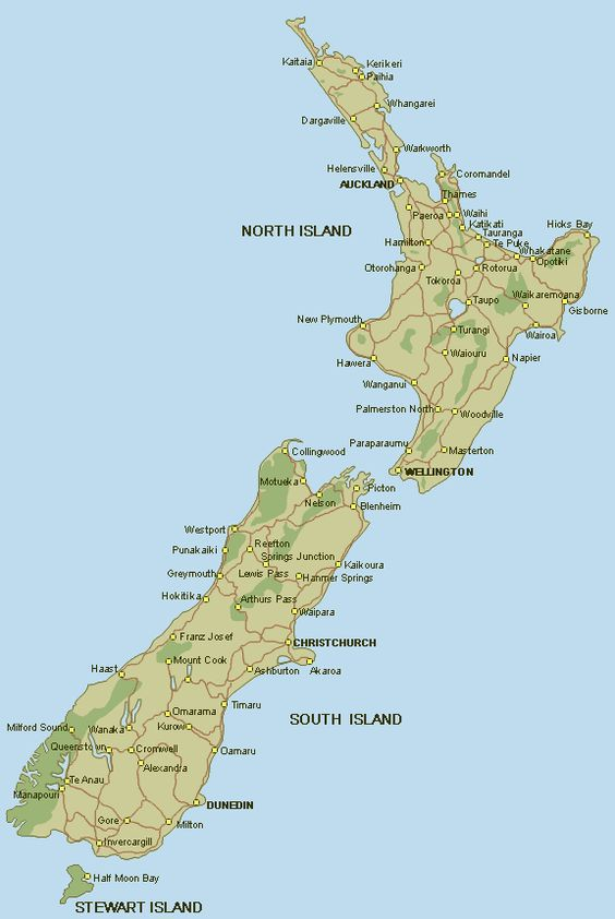 New Zealand – New Zealand Tourist Map South Island