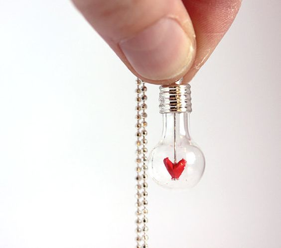 Tiny Bulb Heart  NecklaceMini origami heart by creationzmini, $20.00