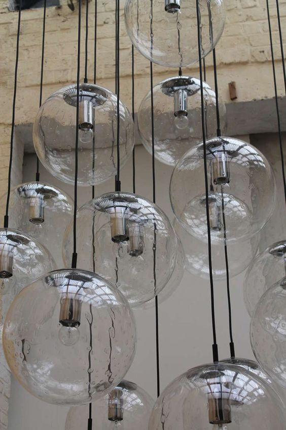Very large raak glass ball chandelier modern chandelier for Very modern lighting