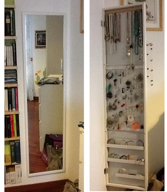 ikea stave mirror mounted like a door using the included. Black Bedroom Furniture Sets. Home Design Ideas