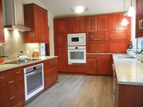 IKEA Adel medium brown cabinets, custom appliance garage #ikeahack ...