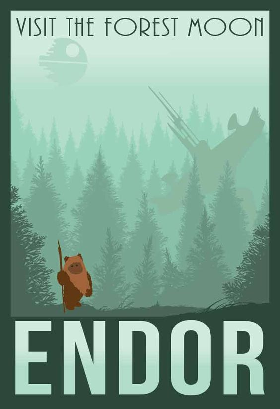 One of the many Star Wars locales that fans love is the Forest Moon of Endor featured in the Return of the Jedi film. This minimalist retro travel poster features the vast forests, the ominous Death S: