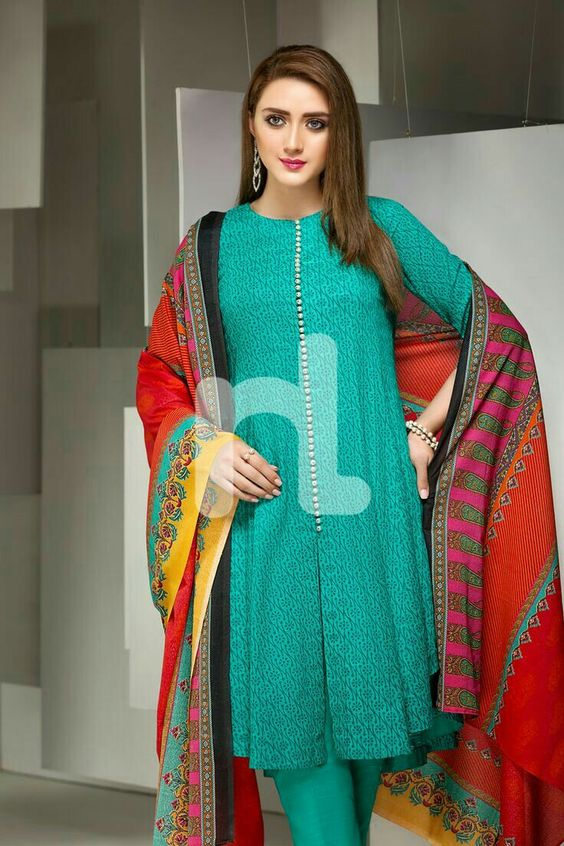 71c811be413a Pakistani Kurta Designs For Ladies Sea Green Kurta by Nishat