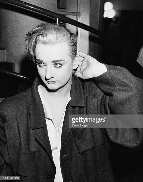 Singer Boy George Arriving To Record The Band Aid Charity Single In Boy George Culture Club Singer