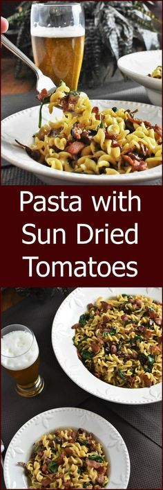 this Pasta with Sun Dried Tomatoes and Bacon and Cream and Spinach ...