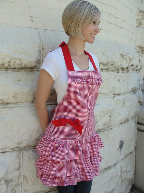 Red Gingham ruffle apron www.etsy.com/overthetopaprons