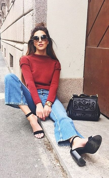 A Colorful Turtleneck, Flared Jeans, and Chunky Heels