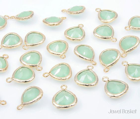 For the bridesmaids maybe??   Light Mint Color Glass and Gold Framed Pendant  by JewelBasket, $4.20