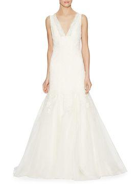 V-Neck Trumpet Bridal Gown from The Kleinfeld Bridal Sample Sale on Gilt