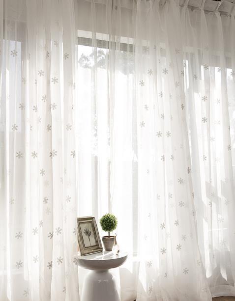 White See Through Sheer Curtains Snowflake Girls Bedroom Drapes White Sheer Curtains White Curtains Bedroom Bedroom Drapes