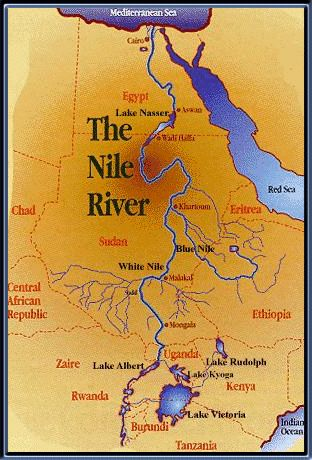 Map On The Nile River One Of The Chief Gods Of Egypt Was - World map showing river nile