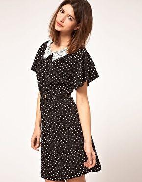 Johann Earl Dress in Polka Dot Print with Lace Collar