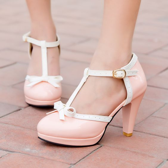 pink Lady's Vintage Bowtie T-Strap Mary Janes Dress High Heels Cut Out Womens Shoes