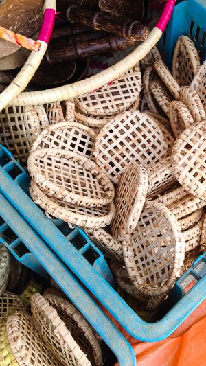 Baskets for steaming string hoppers.