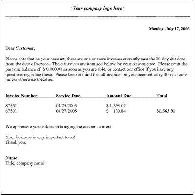 Sample Professional Letter Formats - collection letter template