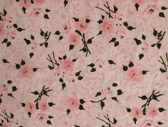 Stoff Blumen - 486 Baumwollstoff  Rosenblüten Grau Rosa  - ein Designerstück von my-kati bei DaWanda