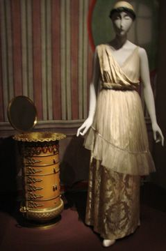 "Elysee Evening Dress,"" (illustrated), was worn by Denise Poiret to Igor Stravinsky's ""Sacre du Printemps, which marked the opening of the Theatre des Champs-Elyssees on April 1, 1913, a landmark Parisian event."