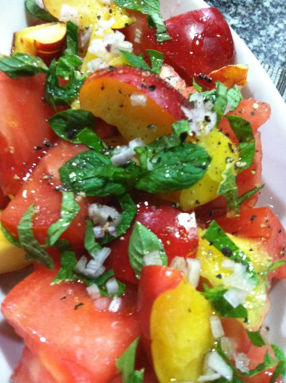 Heirloom tomato, nectarine salad with basil, mint. | yum | Pinterest ...