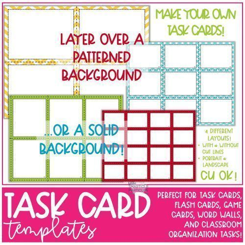 Task Card Flash Card Templates Commercial Use Ok Flashcards Flash Card Template Task Cards