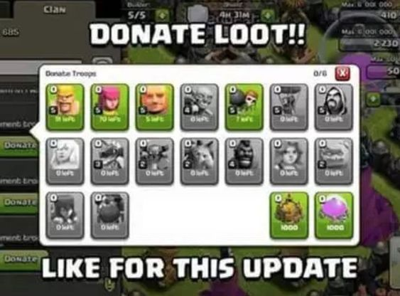 Clash Of Clans now gives opportunity to other Clan Members to donate troops within their Clan.