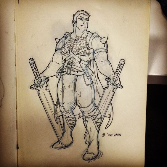 "Inktober // Day 6 (Late) ""Heroic Fantasy"" #inktober2015 #inktober #character #sketch #sketchbook #fantasy #sword #warrior #characterdesign"
