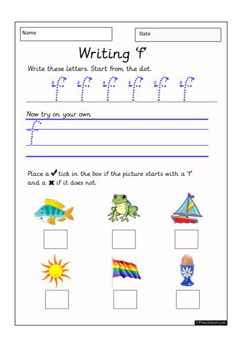 Worksheet Resource = 10-1120 Practice writing the letter (f ...