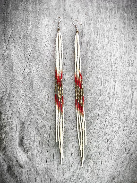 Fringe earrings, Seed beads and Beaded earrings on Pinterest